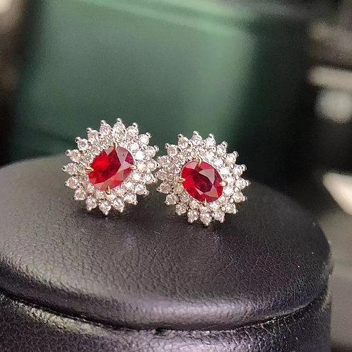 Pigeon Blood Ruby Earrings 0.62ct