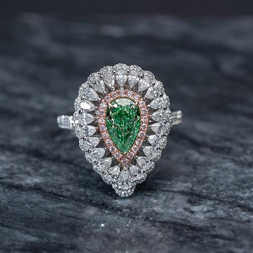 Pearl Shaped Green Diamond Ring 1.01ct