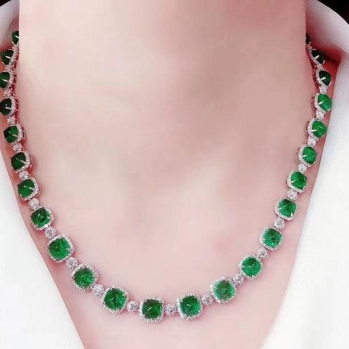 Vivid Green Emerald Necklace 40.5ct