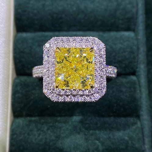 GIA Fancy Yellow Diamond Ring 3.7ct