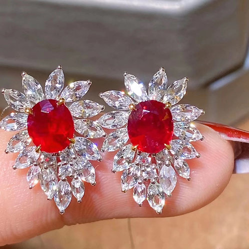 Unheated Pigeon Blood Red Ruby Earrings 2.29ct