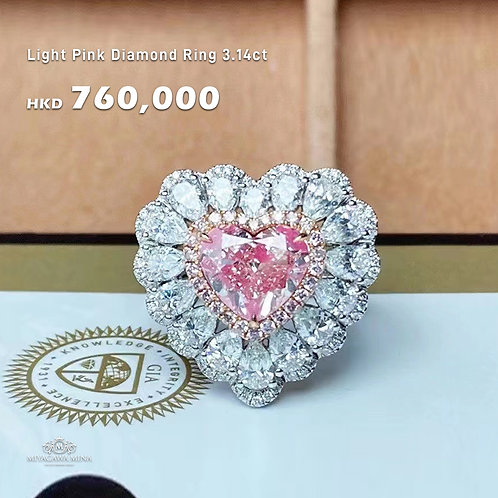 Light Pink Diamond Ring 3.14ct