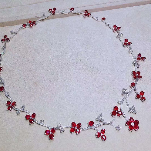 Unheated Pigeon Blood Ruby Necklace 21ct