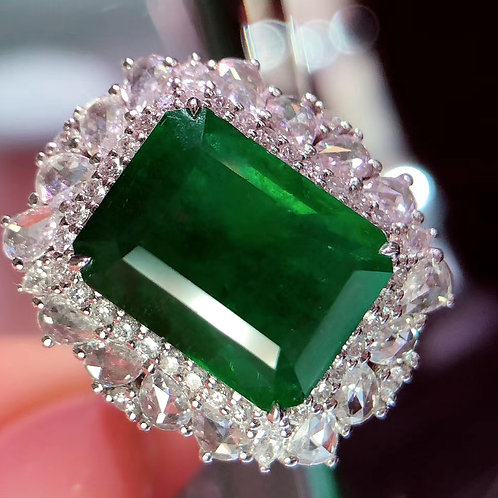Octagonal Cut Emerald Ring 7.2ct