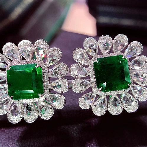 Vivid Green Emerald Earrings 4.8ct