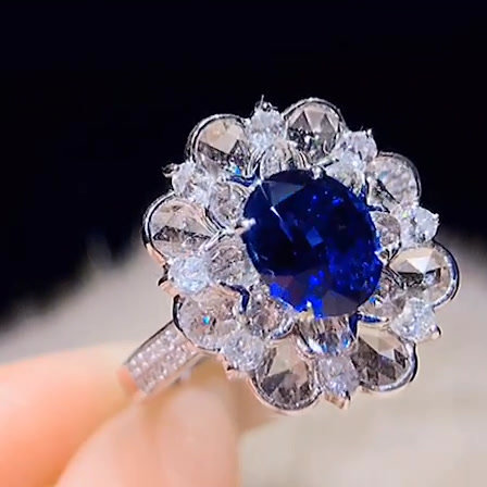 Royal Blue Unheated Sapphire Ring 1.54ct