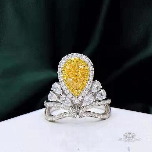 Pear Cut Yellow Diamond Ring 1ct