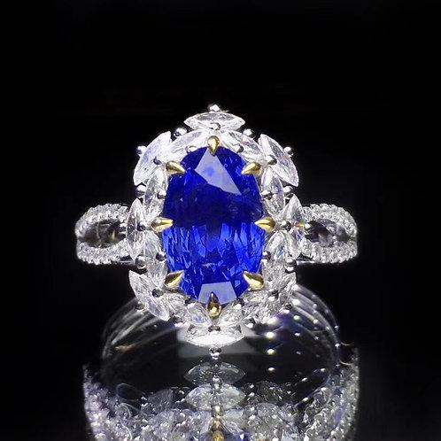 Vivid Cornflower Blue Natural Unheated Sapphire Ring 3.21ct