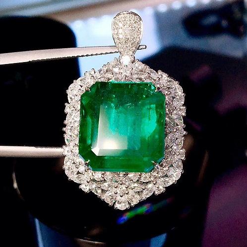Vivid Green Emerald Ring 14.34ct