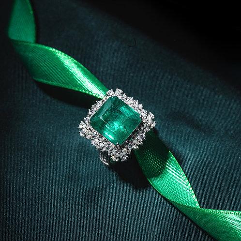 Minor Oil Vivid Green Emerald Ring 6.8ct