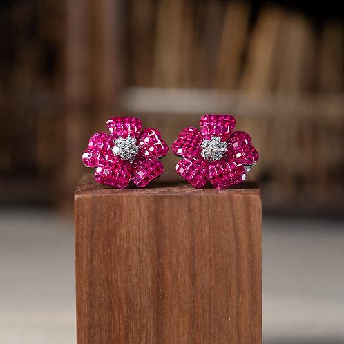 Invisible-Set Flower Earrings