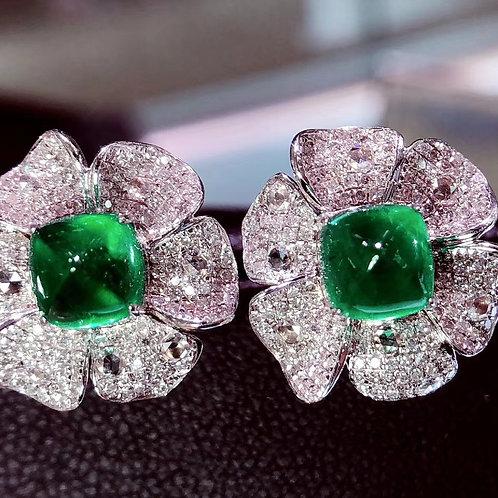 Flower Shaped Vivid Green Emerald Earrings 3.7ct