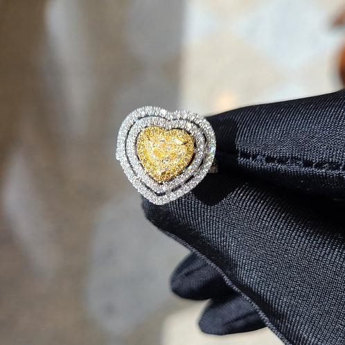 Heart Shaped Yellow Diamond Ring 1.01ct