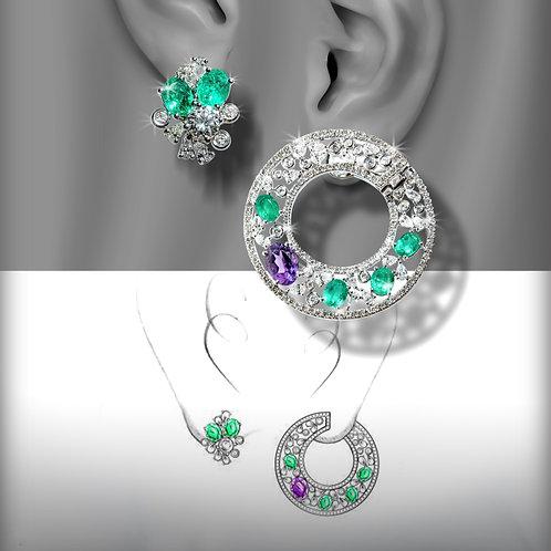 Emerald & Purple Sapphire Earrings
