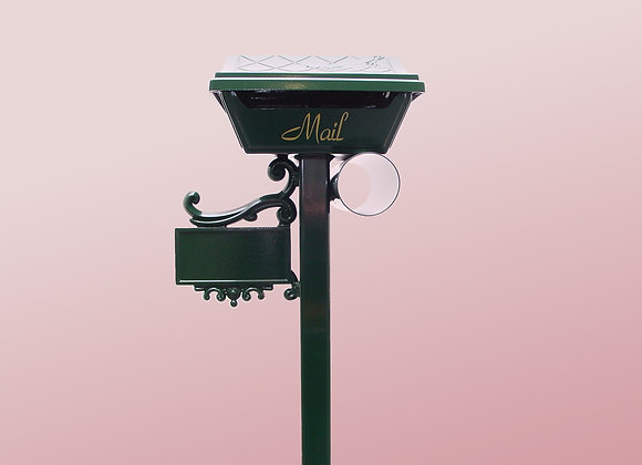 augusta free standing classic letterbox green on pink background