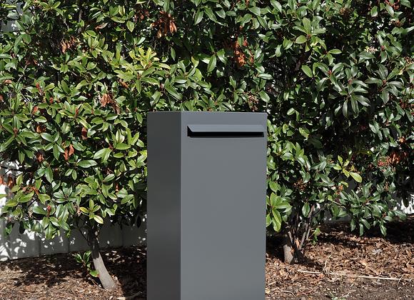 Modern Pillar Letterbox grey front on