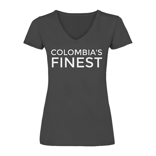 'Colombia's Finest' Womens Charcoal V-Neck