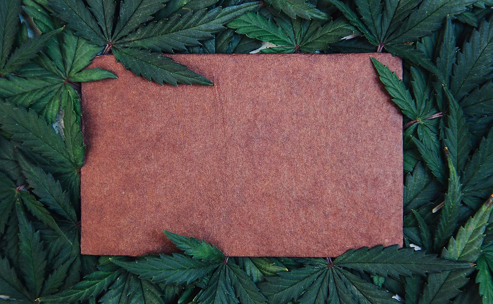Hemp leafes border a brown leather square.