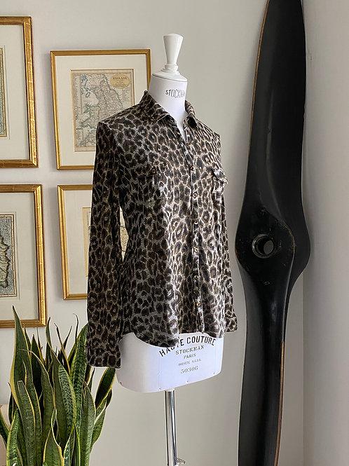 Gerard Darel Grey Leopard Jersey Shirt