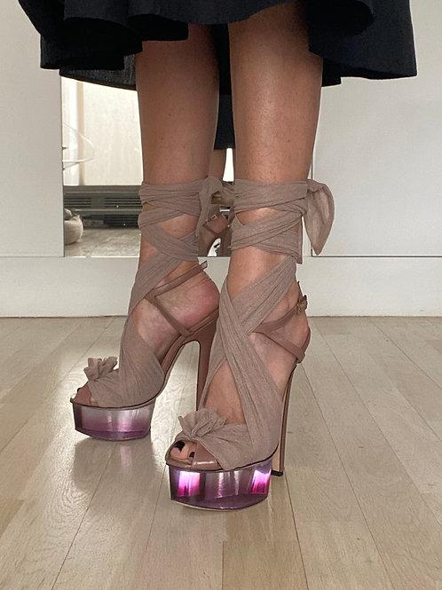 Fendi Tulle & Perspex Platform Sandals