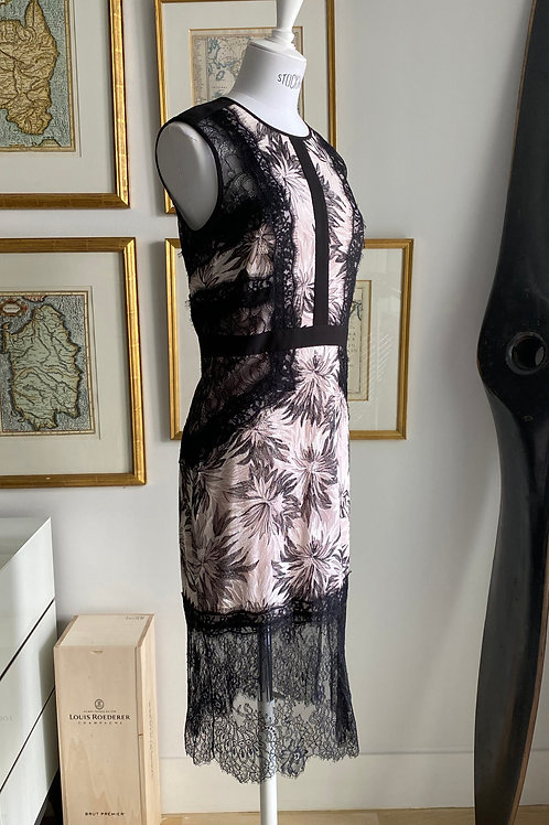 BCBG Dusty Pink & Black Lace Dress