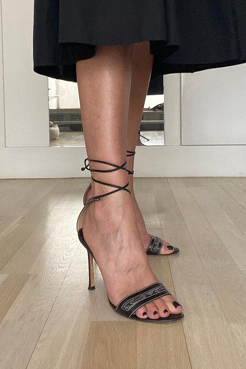 Versace Black Lace-up Sandals