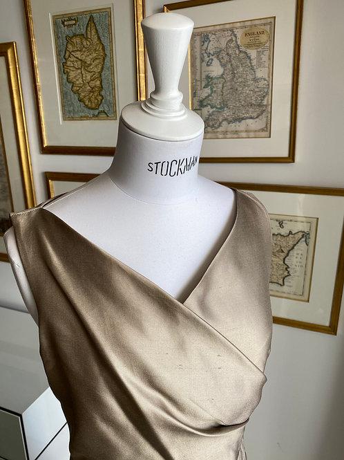 Max Mara Champagne Shantung Silk Dress