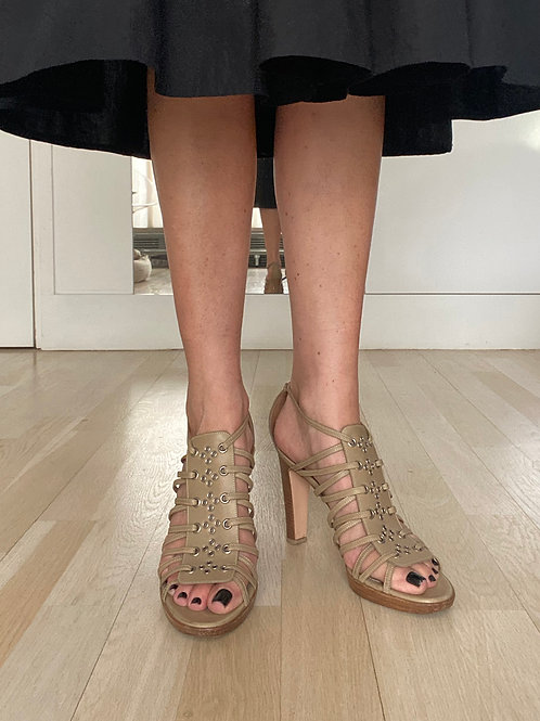 Gianvito Rossi Stappy Stack-Heeled Sandal