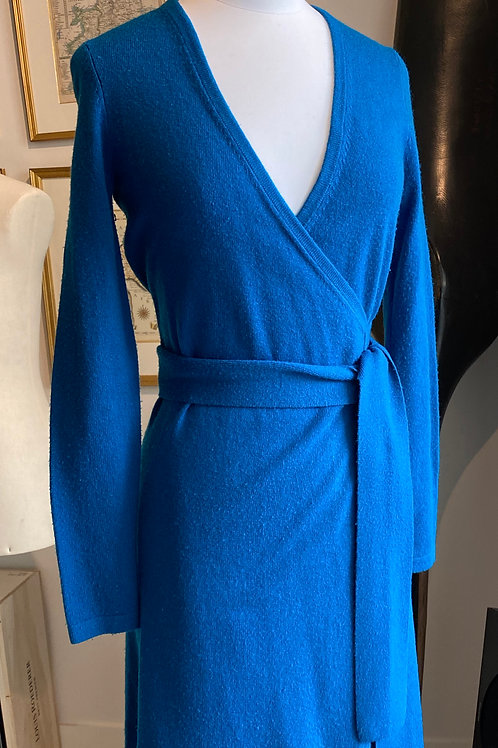 Diane von Furstenberg Blue Cashmere Wrap Dress