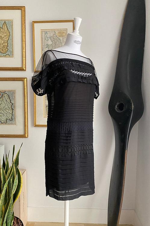 Diane Von Furstenberg Black Ribbon & Mesh Dress