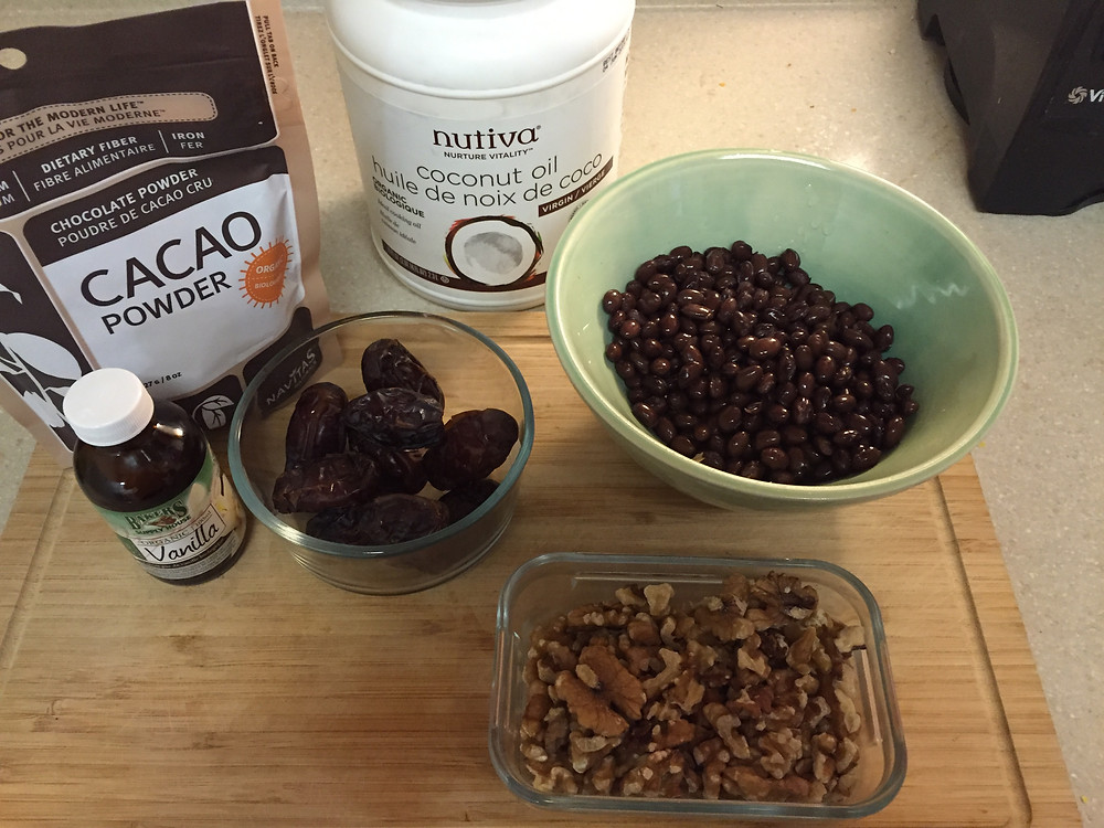 cacao, medjool dates, coconut oil, black beans