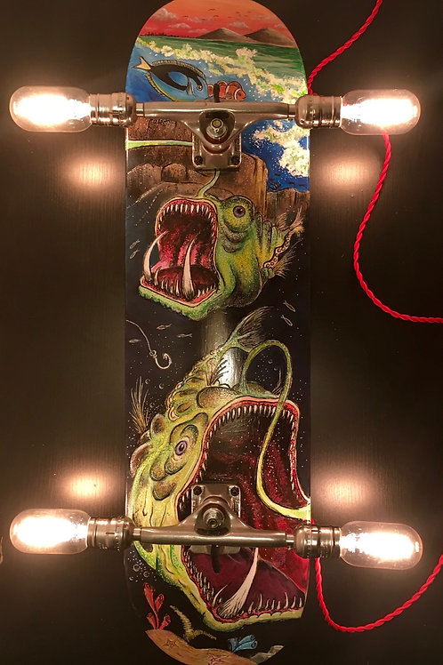 Angler Fish Skateboard Wall Light with Dimmer