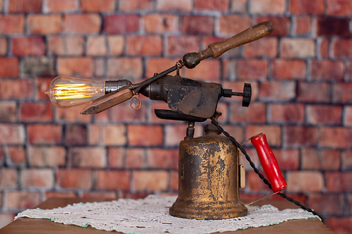 Vintage Blow Torch with Iron Lamp with Slide Dimmer Switch
