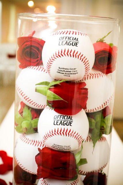 Baseballs and red roses