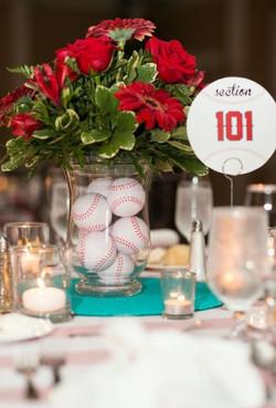 Baseball vase centrepiece