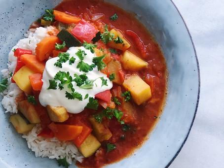 Vegogryta med grönsaker, potatis & ris