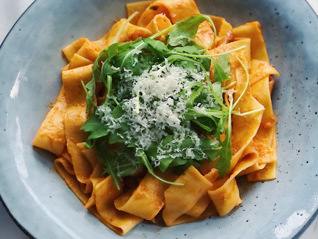Pappardelle med tomatpesto & ruccola