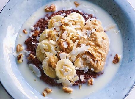 Chokladgröt med banan & valnötter