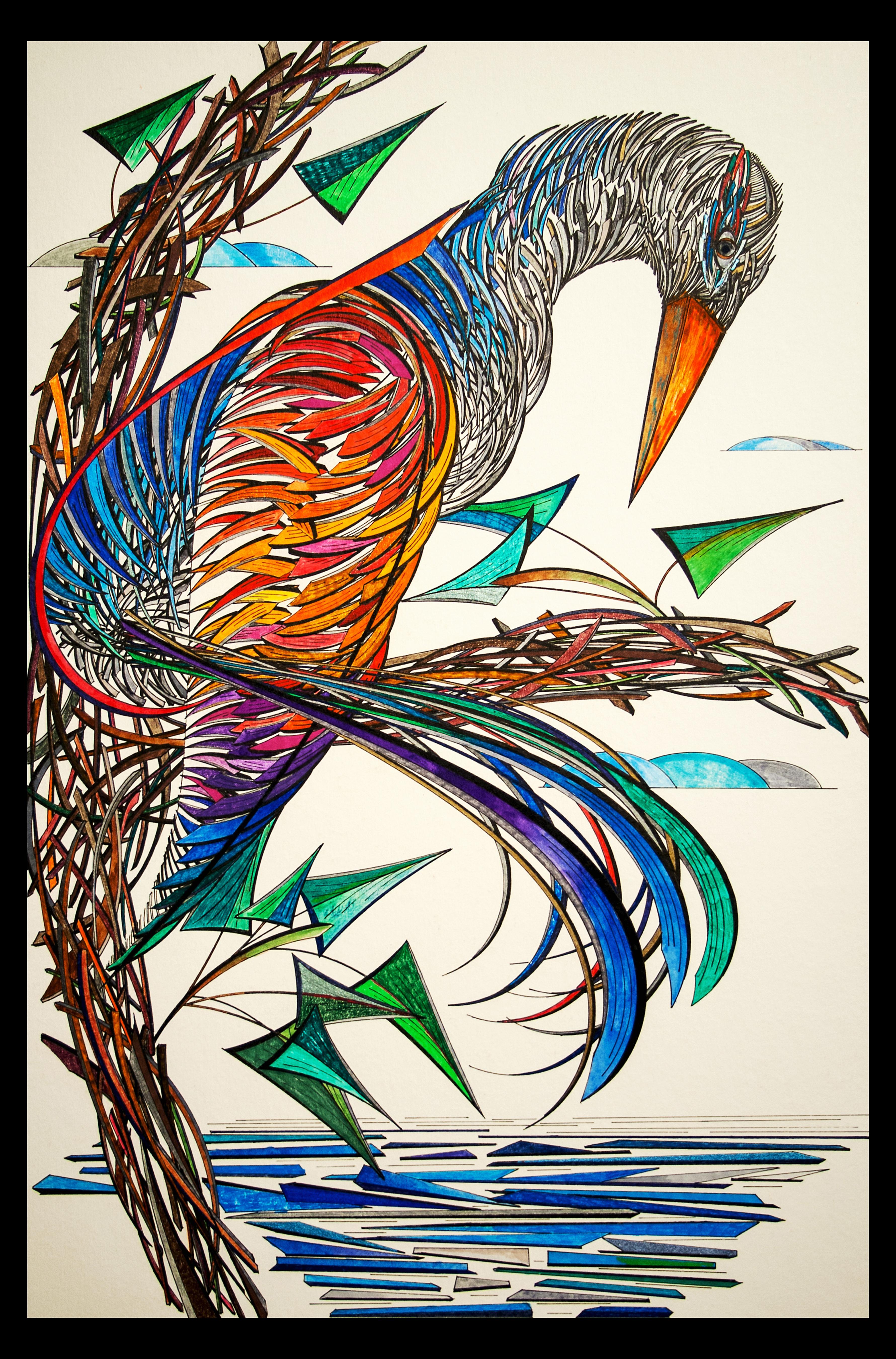 """Watchful Bird 18x24"""""""