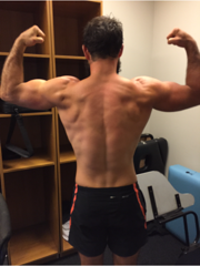 Back, Bicep Flex - After Image of 12 week weight loss tranformation