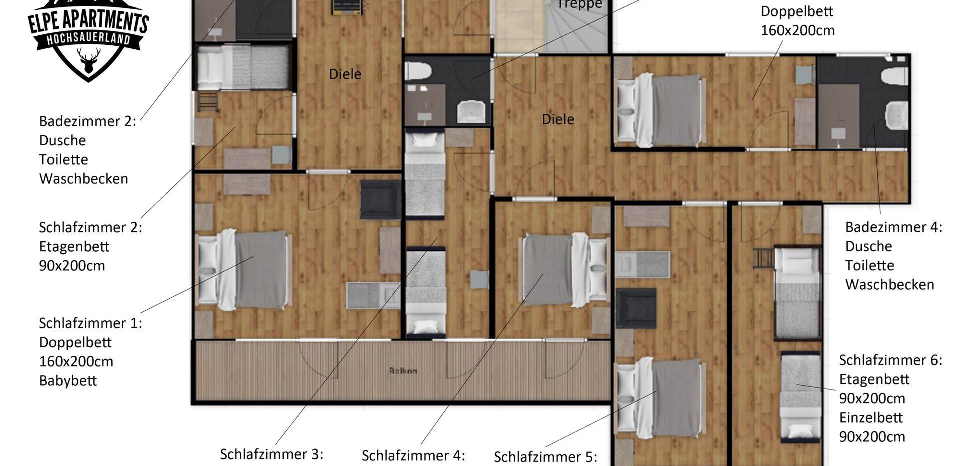 Plattegrond 1e etage met voordeur