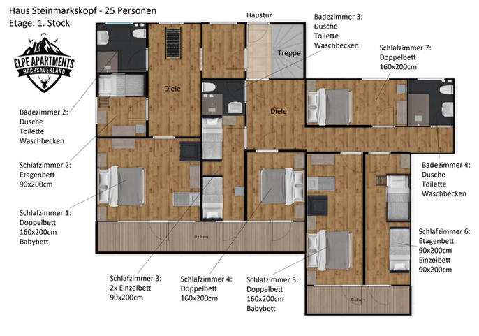 Grundriss 1. Stock (Haustür)