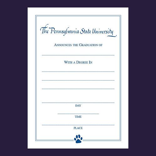 Paw Print Graduation Announcement, Fillable