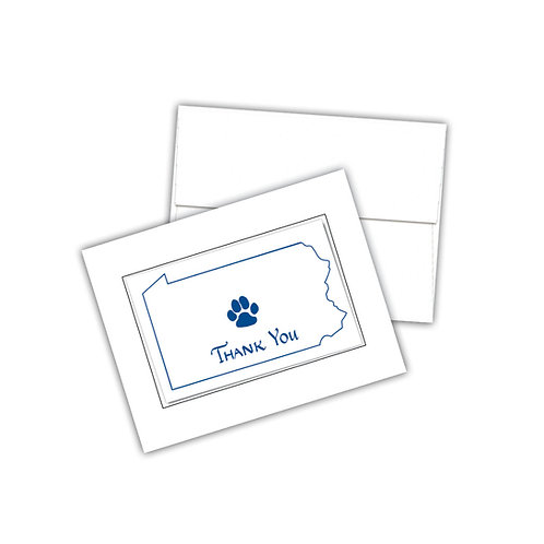 PA State Thank You Paw Print Notecards