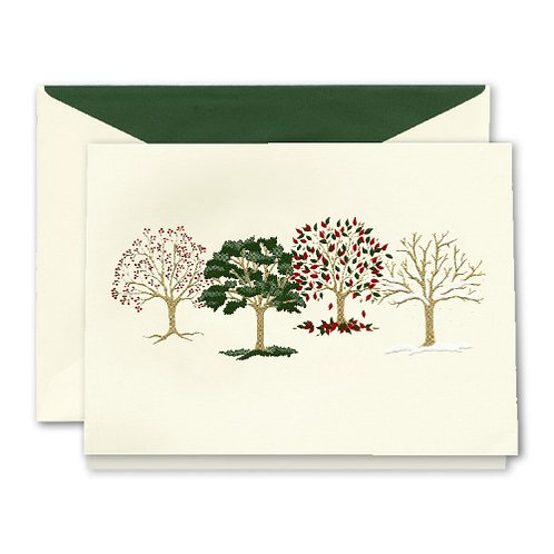 Engraved Four Seasons Holiday Greeting Cards