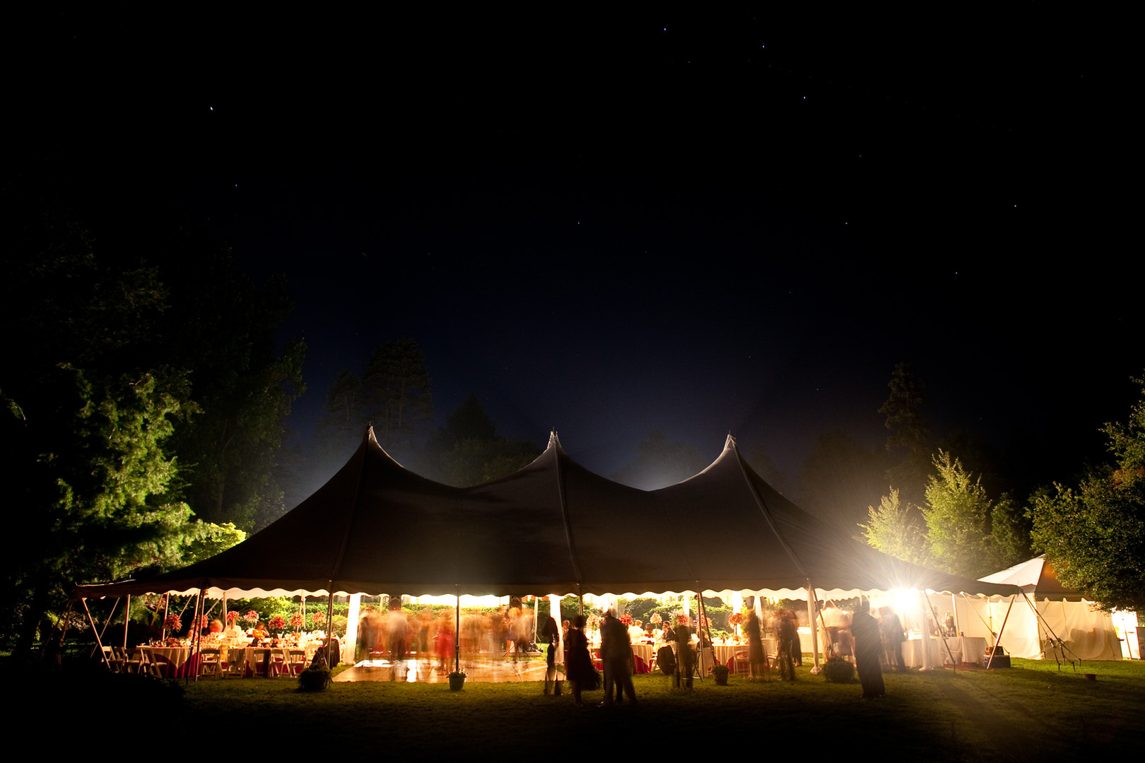 Tent outside at night
