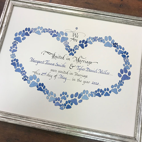 Paw Prints Marriage Certificate