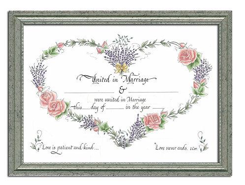 Custom Calligraphy Marriage Certificate