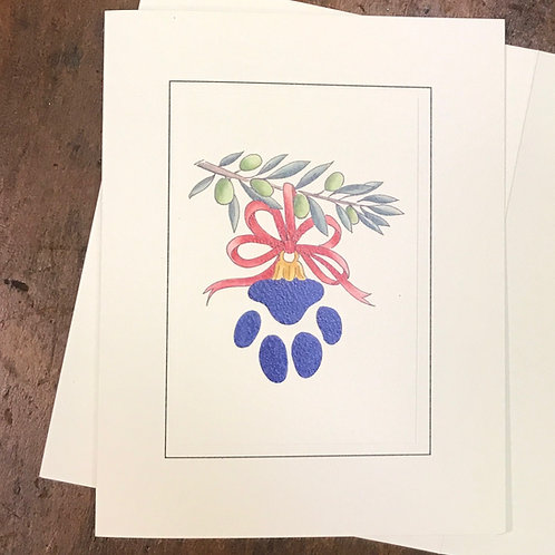 Paw Print Holiday Ornament Cards