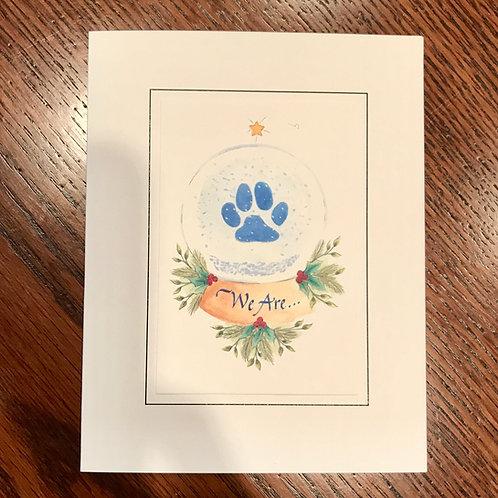 Paw Print Snow Globe Cards